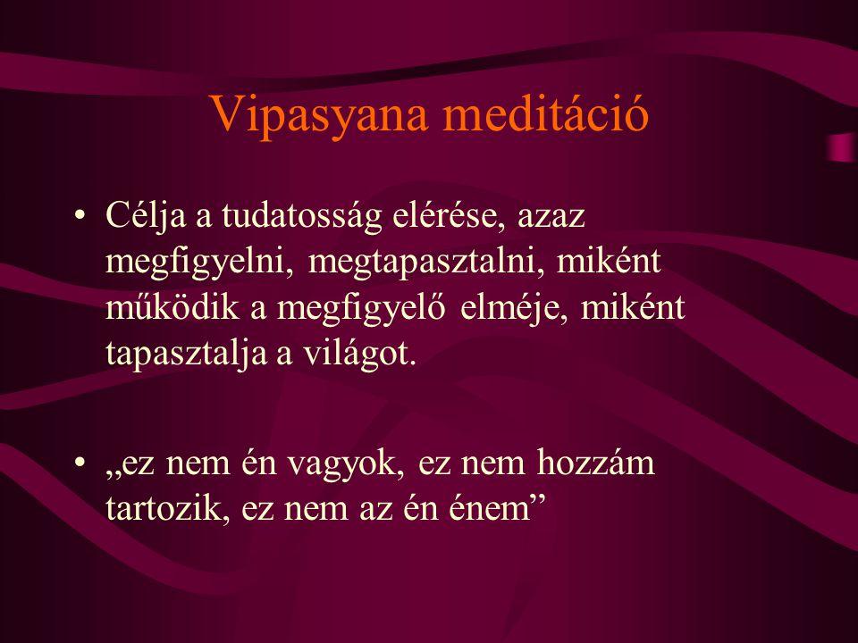 """Vipasyana meditáció Célja a tudatosság elérése, azaz megfigyelni, megtapasztalni, miként működik a megfigyelő elméje, miként tapasztalja a világot. """"e"""