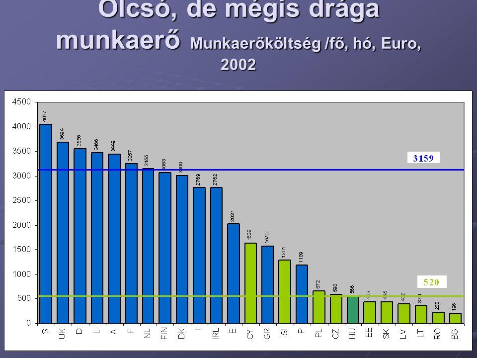 Olcsó, de mégis drága munkaerő Munkaerőköltség /fő, hó, Euro, 2002