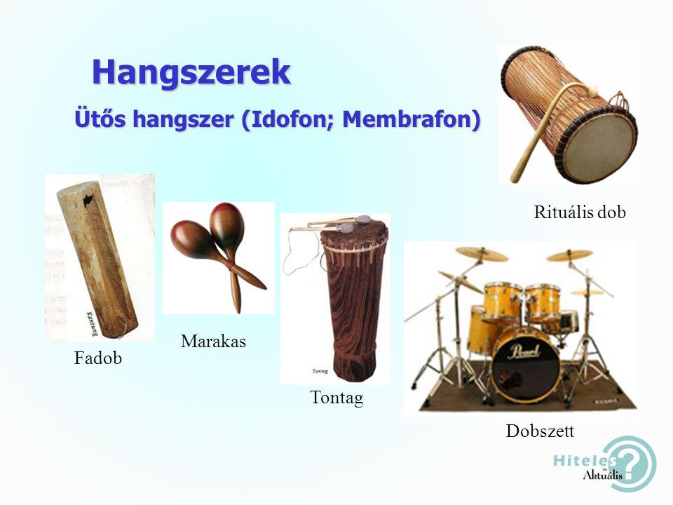 Hangszerek Ütős hangszer (Idofon; Membrafon) Fadob Marakas Tontag Rituális dob Dobszett