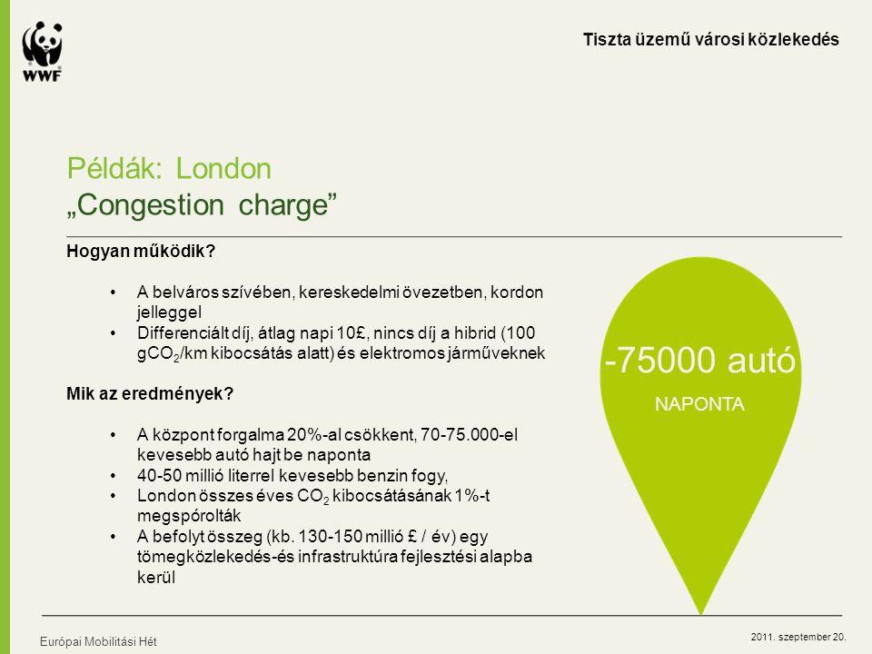 """2011. szeptember 20. Európai Mobilitási Hét Példák: London """"Congestion charge"""" Hogyan működik? A belváros szívében, kereskedelmi övezetben, kordon jel"""