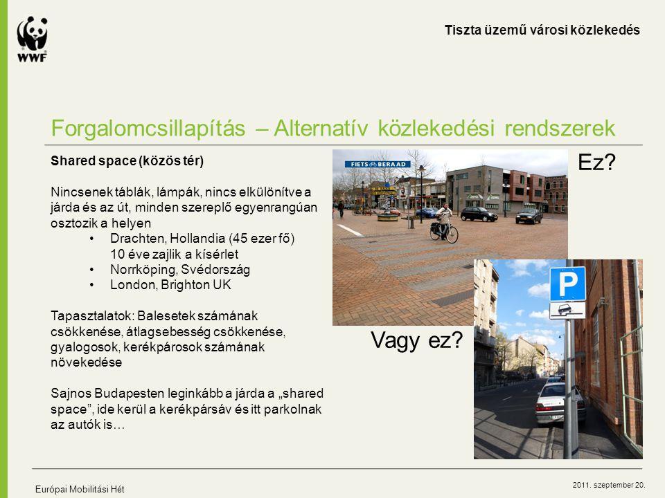 2011. szeptember 20. Forgalomcsillapítás – Alternatív közlekedési rendszerek Tiszta üzemű városi közlekedés Európai Mobilitási Hét Shared space (közös