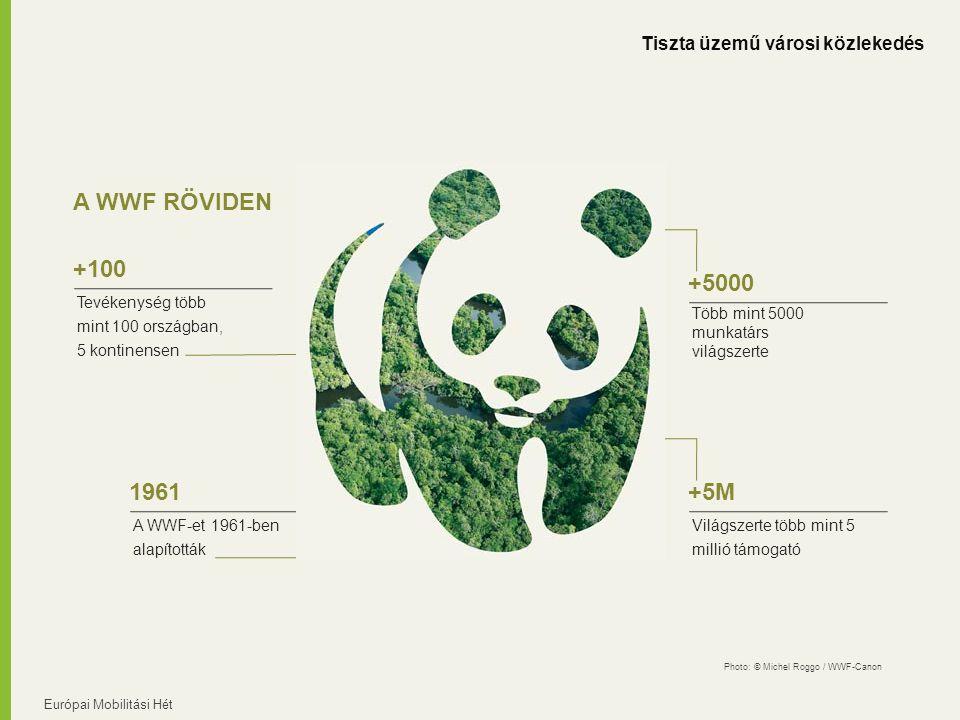 Európai Mobilitási Hét A WWF RÖVIDEN Tevékenység több mint 100 országban, 5 kontinensen +100 A WWF-et 1961-ben alapították 1961 Több mint 5000 munkatárs világszerte +5000 Világszerte több mint 5 millió támogató +5M Tiszta üzemű városi közlekedés Photo: © Michel Roggo / WWF-Canon