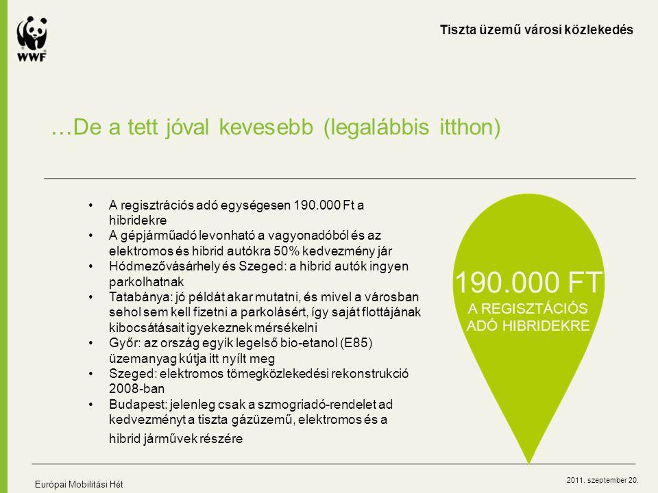 2011. szeptember 20. …De a tett jóval kevesebb (legalábbis itthon) Tiszta üzemű városi közlekedés Európai Mobilitási Hét A regisztrációs adó egységese