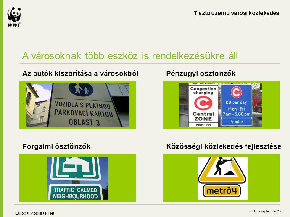 2011. szeptember 20. A városoknak több eszköz is rendelkezésükre áll Tiszta üzemű városi közlekedés Európai Mobilitási Hét … Az autók kiszorítása a vá