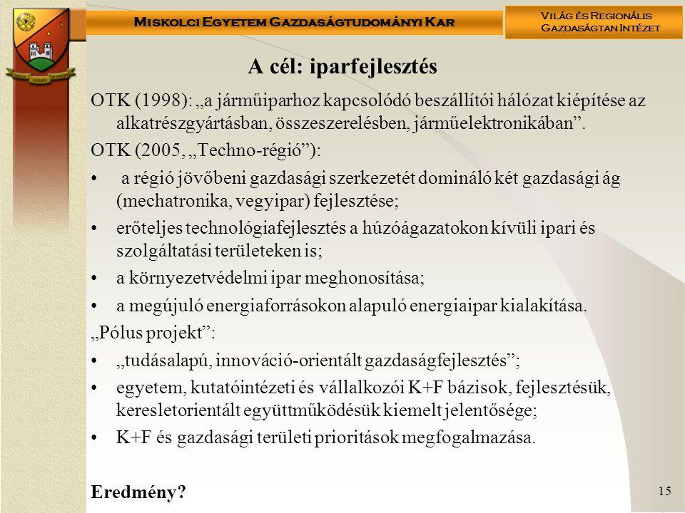 """Miskolci Egyetem Gazdaságtudományi Kar Világ és Regionális Gazdaságtan Intézet 15 A cél: iparfejlesztés OTK (1998): """"a járműiparhoz kapcsolódó beszállítói hálózat kiépítése az alkatrészgyártásban, összeszerelésben, járműelektronikában ."""