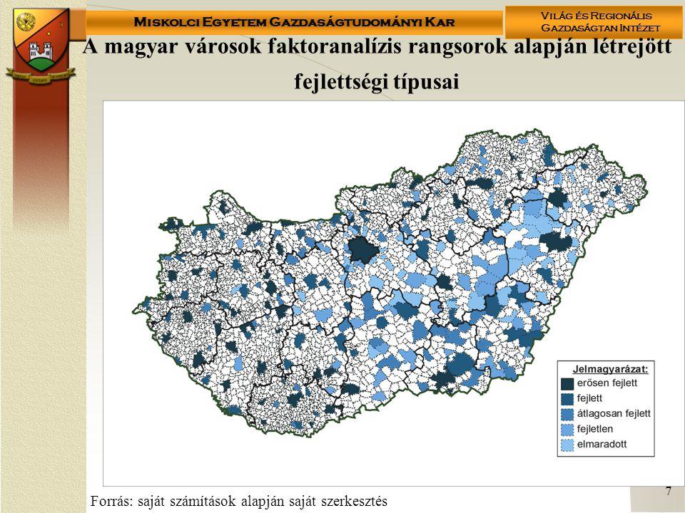 Miskolci Egyetem Gazdaságtudományi Kar Világ és Regionális Gazdaságtan Intézet 7 A magyar városok faktoranalízis rangsorok alapján létrejött fejlettségi típusai Forrás: saját számítások alapján saját szerkesztés
