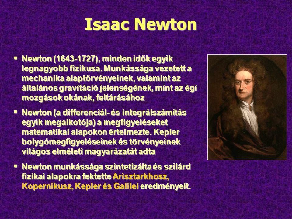 Isaac Newton  Newton (1643-1727), minden idők egyik legnagyobb fizikusa.