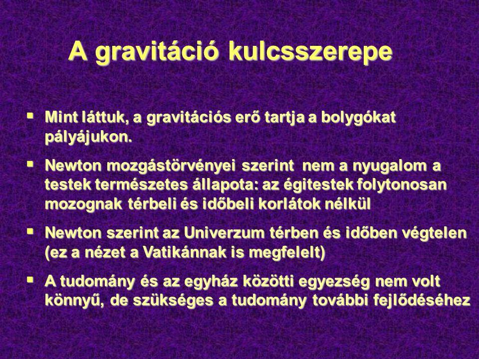 A gravitáció kulcsszerepe  Mint láttuk, a gravitációs erő tartja a bolygókat pályájukon.