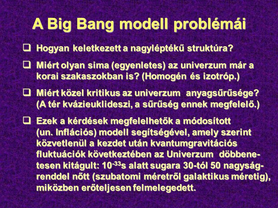 A Big Bang modell problémái  Hogyan keletkezett a nagyléptékű struktúra.
