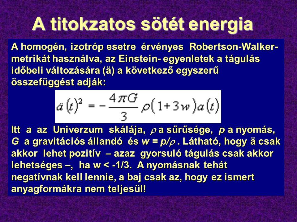 A titokzatos sötét energia  230 db. Ia-típusú igen távoli szupernóva fénygörbéjének vizsgálata alapján az utóbbi években az adódott, hogy a kozmoszba
