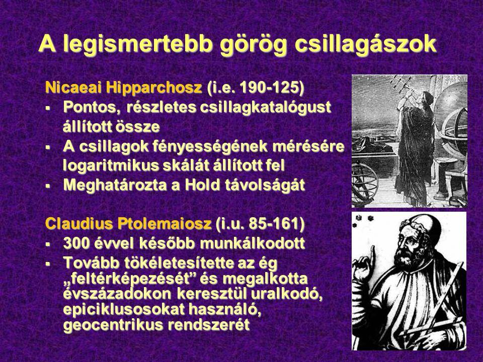 Ptolemaiosz epiciklusai  Ptolemaiosz szerint a Nap, a Hold és a bolygók a Föld körül keringenek  A bolygók időnként azért látszanak hurkokat leírni, mert tökéletes körmozgásuk epiciklusok mentén megy végbe  Elméletét az Almagest-ben (Syntax Mathematicae) összegezte (kb.