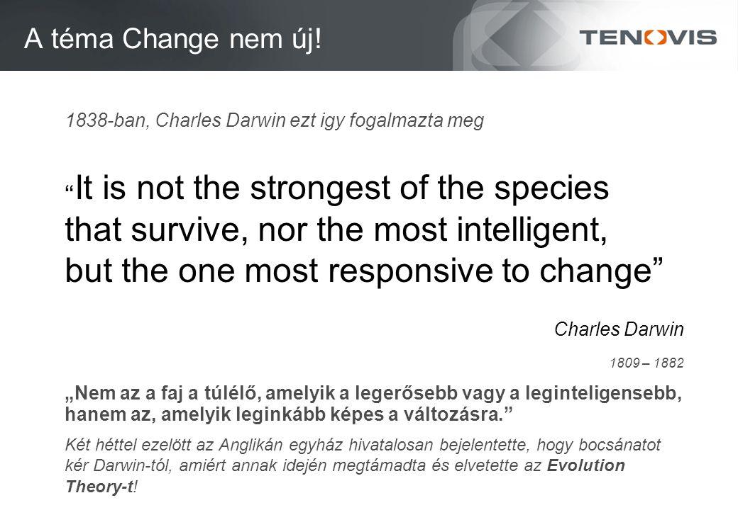 """A téma Change nem új! 1838-ban, Charles Darwin ezt igy fogalmazta meg """" It is not the strongest of the species that survive, nor the most intelligent,"""