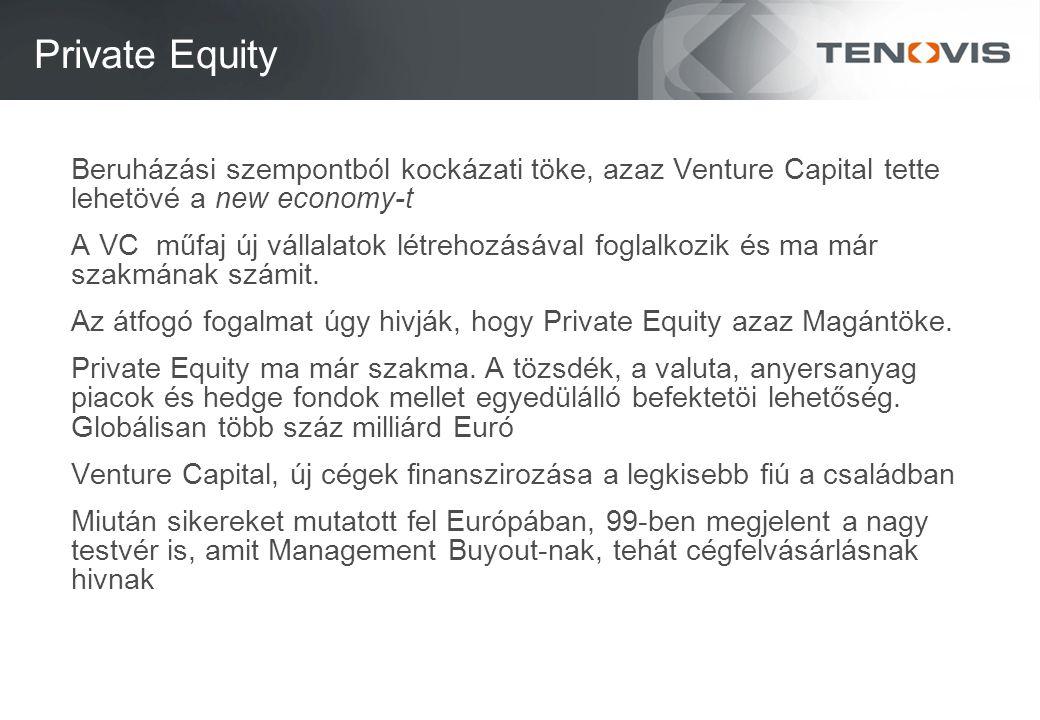 Private Equity Beruházási szempontból kockázati töke, azaz Venture Capital tette lehetövé a new economy-t A VC műfaj új vállalatok létrehozásával foglalkozik és ma már szakmának számit.