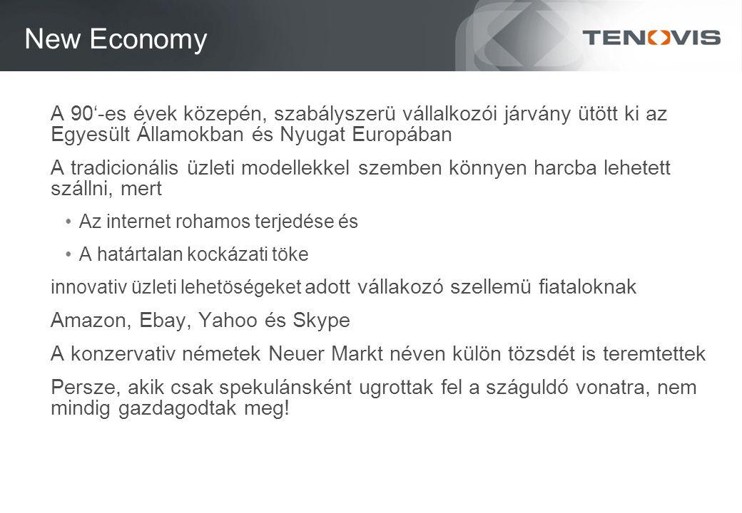 New Economy A 90'-es évek közepén, szabályszerü vállalkozói járvány ütött ki az Egyesült Államokban és Nyugat Europában A tradicionális üzleti modellekkel szemben könnyen harcba lehetett szállni, mert Az internet rohamos terjedése és A határtalan kockázati töke innovativ üzleti lehetöségeket adott vállakozó szellemü fiataloknak Amazon, Ebay, Yahoo és Skype A konzervativ németek Neuer Markt néven külön tözsdét is teremtettek Persze, akik csak spekulánsként ugrottak fel a száguldó vonatra, nem mindig gazdagodtak meg!