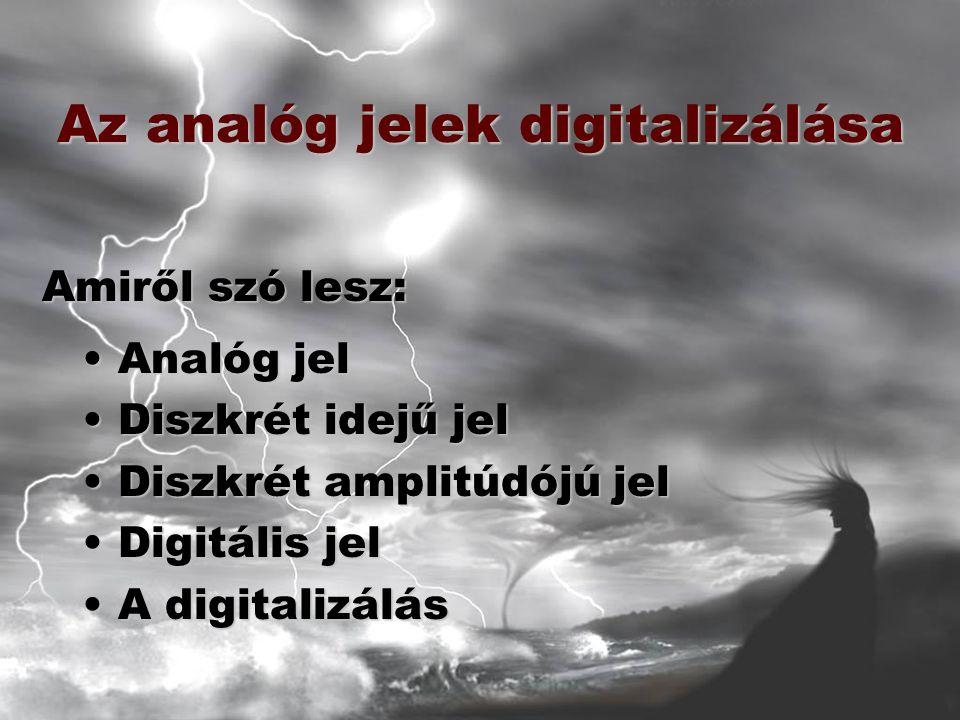 Az analóg jelek digitalizálása Analóg jelAnalóg jel Diszkrét idejű jelDiszkrét idejű jel Diszkrét amplitúdójú jelDiszkrét amplitúdójú jel Digitális jelDigitális jel A digitalizálásA digitalizálás Amiről szó lesz: