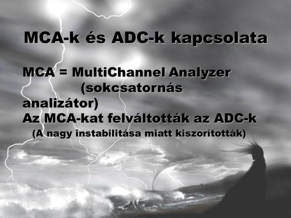 MCA-k és ADC-k kapcsolata MCA = MultiChannel Analyzer (sokcsatornás analizátor) Az MCA-kat felváltották az ADC-k (A nagy instabilitása miatt kiszorították)