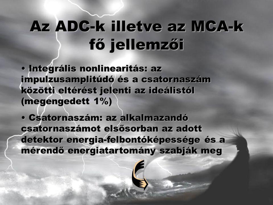 Az ADC-k illetve az MCA-k fő jellemzői Integrális nonlinearitás: az impulzusamplitúdó és a csatornaszám közötti eltérést jelenti az ideálistól (megengedett 1%) Integrális nonlinearitás: az impulzusamplitúdó és a csatornaszám közötti eltérést jelenti az ideálistól (megengedett 1%) Csatornaszám: az alkalmazandó csatornaszámot elsősorban az adott detektor energia-felbontóképessége és a mérendő energiatartomány szabják meg Csatornaszám: az alkalmazandó csatornaszámot elsősorban az adott detektor energia-felbontóképessége és a mérendő energiatartomány szabják meg