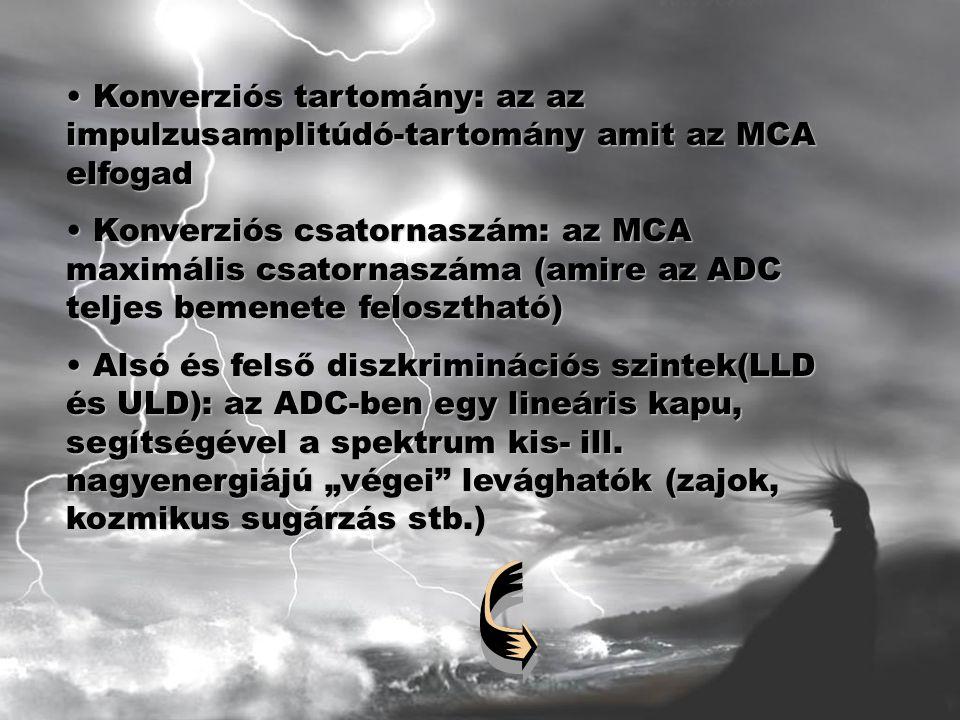 Konverziós tartomány: az az impulzusamplitúdó-tartomány amit az MCA elfogad Konverziós tartomány: az az impulzusamplitúdó-tartomány amit az MCA elfogad Konverziós csatornaszám: az MCA maximális csatornaszáma (amire az ADC teljes bemenete felosztható) Konverziós csatornaszám: az MCA maximális csatornaszáma (amire az ADC teljes bemenete felosztható) Alsó és felső diszkriminációs szintek(LLD és ULD): az ADC-ben egy lineáris kapu, segítségével a spektrum kis- ill.