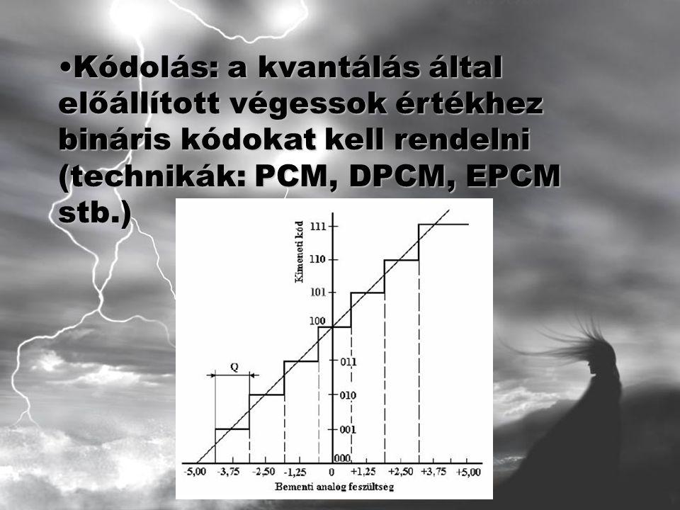 Kódolás: a kvantálás által előállított végessok értékhez bináris kódokat kell rendelni (technikák: PCM, DPCM, EPCM stb.)Kódolás: a kvantálás által előállított végessok értékhez bináris kódokat kell rendelni (technikák: PCM, DPCM, EPCM stb.)