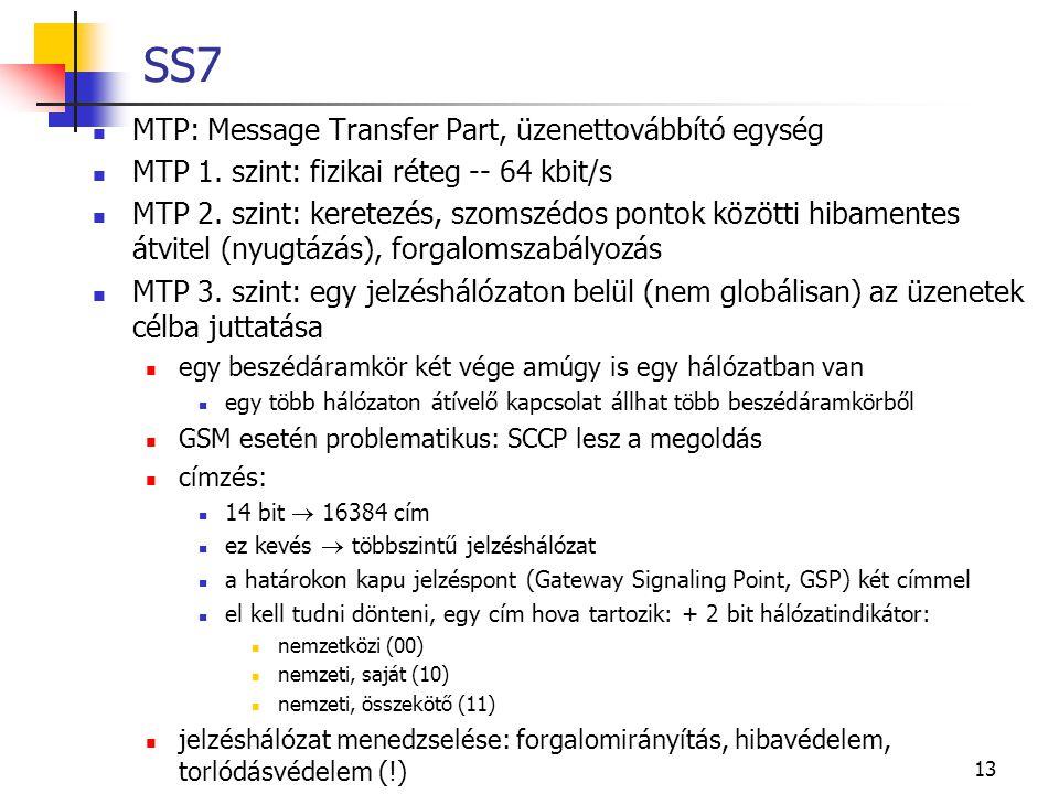 13 SS7 MTP: Message Transfer Part, üzenettovábbító egység MTP 1. szint: fizikai réteg -- 64 kbit/s MTP 2. szint: keretezés, szomszédos pontok közötti
