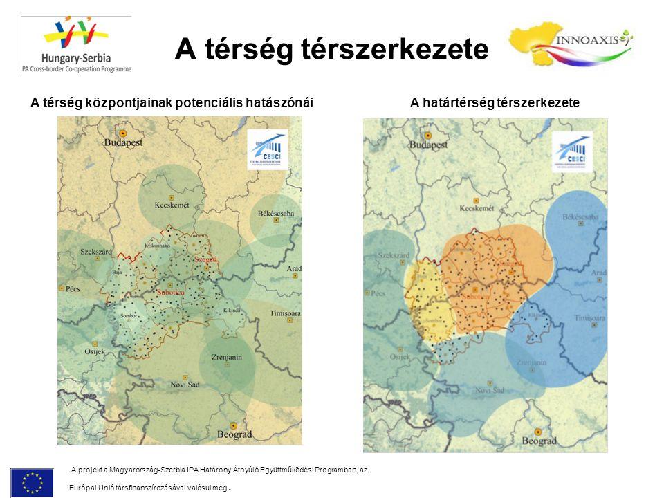 A térség térszerkezete A projekt a Magyarország-Szerbia IPA Határony Átnyúló Együttműködési Programban, az Európai Unió társfinanszírozásával valósul meg.