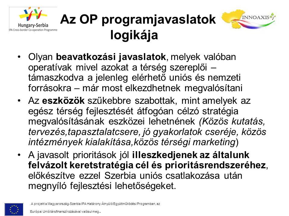 Az OP programjavaslatok logikája Olyan beavatkozási javaslatok, melyek valóban operatívak mivel azokat a térség szereplői – támaszkodva a jelenleg elérhető uniós és nemzeti forrásokra – már most elkezdhetnek megvalósítani Az eszközök szűkebbre szabottak, mint amelyek az egész térség fejlesztését átfogóan célzó stratégia megvalósításának eszközei lehetnének (Közös kutatás, tervezés,tapasztalatcsere, jó gyakorlatok cseréje, közös intézmények kialakítása,közös térségi marketing) A javasolt prioritások jól illeszkedjenek az általunk felvázolt keretstratégia cél és prioritásrendszeréhez, előkészítve ezzel Szerbia uniós csatlakozása után megnyíló fejlesztési lehetőségeket.