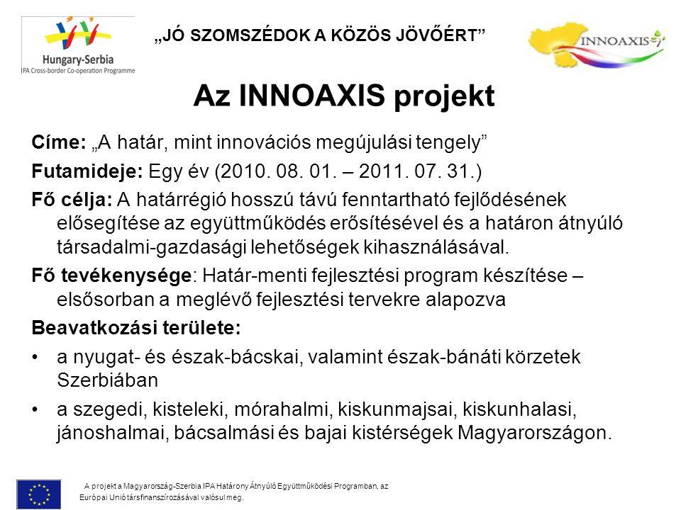 """Az INNOAXIS projekt Címe: """"A határ, mint innovációs megújulási tengely Futamideje: Egy év (2010."""