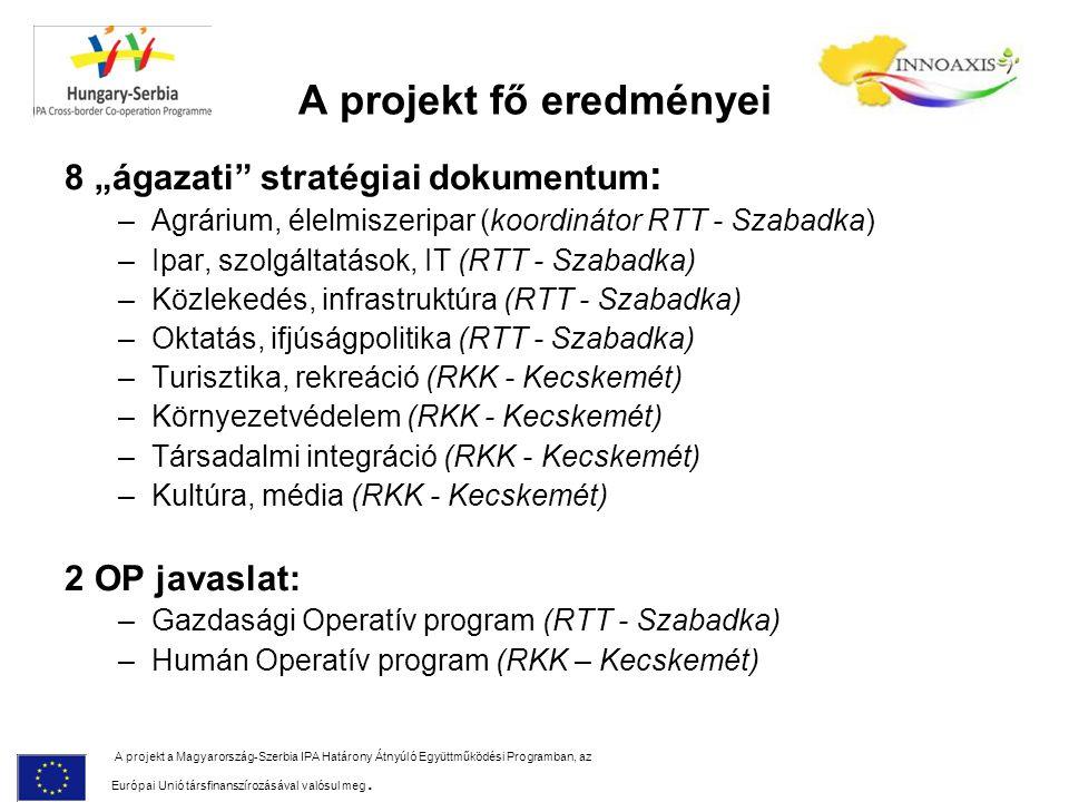 """A projekt fő eredményei 8 """"ágazati stratégiai dokumentum : –Agrárium, élelmiszeripar (koordinátor RTT - Szabadka) –Ipar, szolgáltatások, IT (RTT - Szabadka) –Közlekedés, infrastruktúra (RTT - Szabadka) –Oktatás, ifjúságpolitika (RTT - Szabadka) –Turisztika, rekreáció (RKK - Kecskemét) –Környezetvédelem (RKK - Kecskemét) –Társadalmi integráció (RKK - Kecskemét) –Kultúra, média (RKK - Kecskemét) 2 OP javaslat: –Gazdasági Operatív program (RTT - Szabadka) –Humán Operatív program (RKK – Kecskemét) A projekt a Magyarország-Szerbia IPA Határony Átnyúló Együttműködési Programban, az Európai Unió társfinanszírozásával valósul meg."""