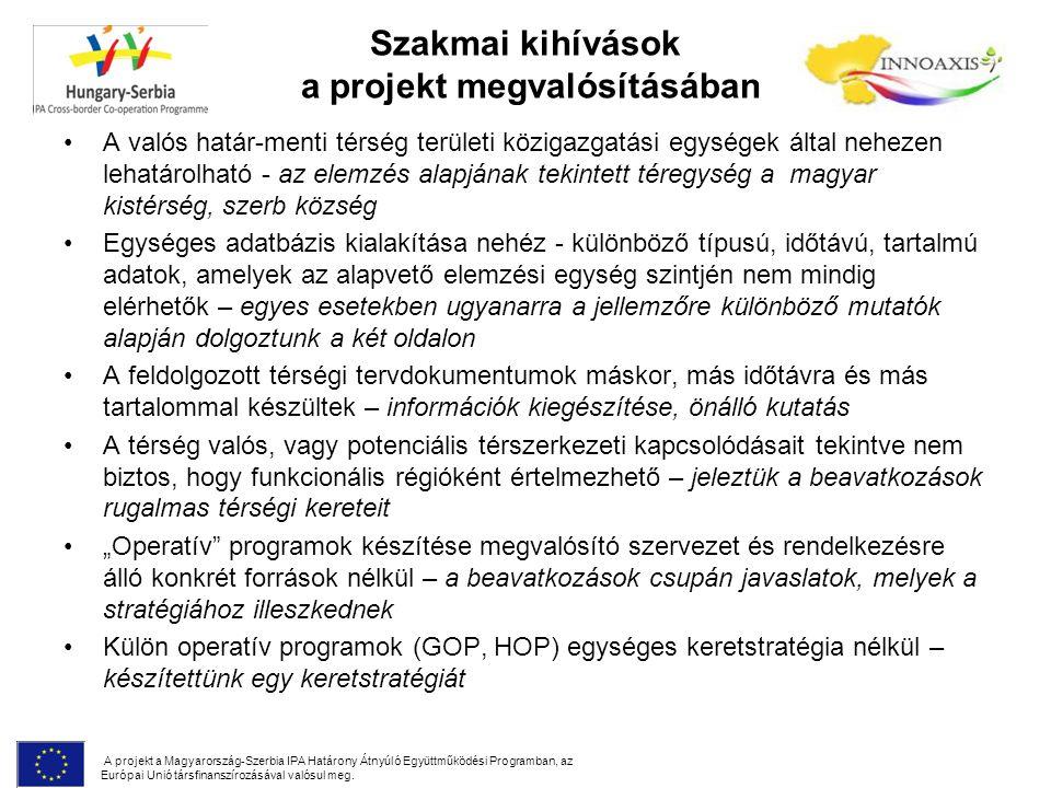 """Szakmai kihívások a projekt megvalósításában A valós határ-menti térség területi közigazgatási egységek által nehezen lehatárolható - az elemzés alapjának tekintett téregység a magyar kistérség, szerb község Egységes adatbázis kialakítása nehéz - különböző típusú, időtávú, tartalmú adatok, amelyek az alapvető elemzési egység szintjén nem mindig elérhetők – egyes esetekben ugyanarra a jellemzőre különböző mutatók alapján dolgoztunk a két oldalon A feldolgozott térségi tervdokumentumok máskor, más időtávra és más tartalommal készültek – információk kiegészítése, önálló kutatás A térség valós, vagy potenciális térszerkezeti kapcsolódásait tekintve nem biztos, hogy funkcionális régióként értelmezhető – jeleztük a beavatkozások rugalmas térségi kereteit """"Operatív programok készítése megvalósító szervezet és rendelkezésre álló konkrét források nélkül – a beavatkozások csupán javaslatok, melyek a stratégiához illeszkednek Külön operatív programok (GOP, HOP) egységes keretstratégia nélkül – készítettünk egy keretstratégiát A projekt a Magyarország-Szerbia IPA Határony Átnyúló Együttműködési Programban, az Európai Unió társfinanszírozásával valósul meg."""