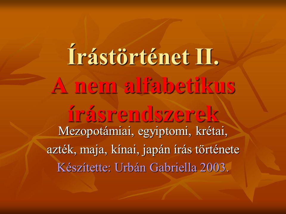 Urbán Gabriella 2003.Felhasznált irodalom Kéki – Köpeczi Bócz: Az írás története Gondolat Bp.
