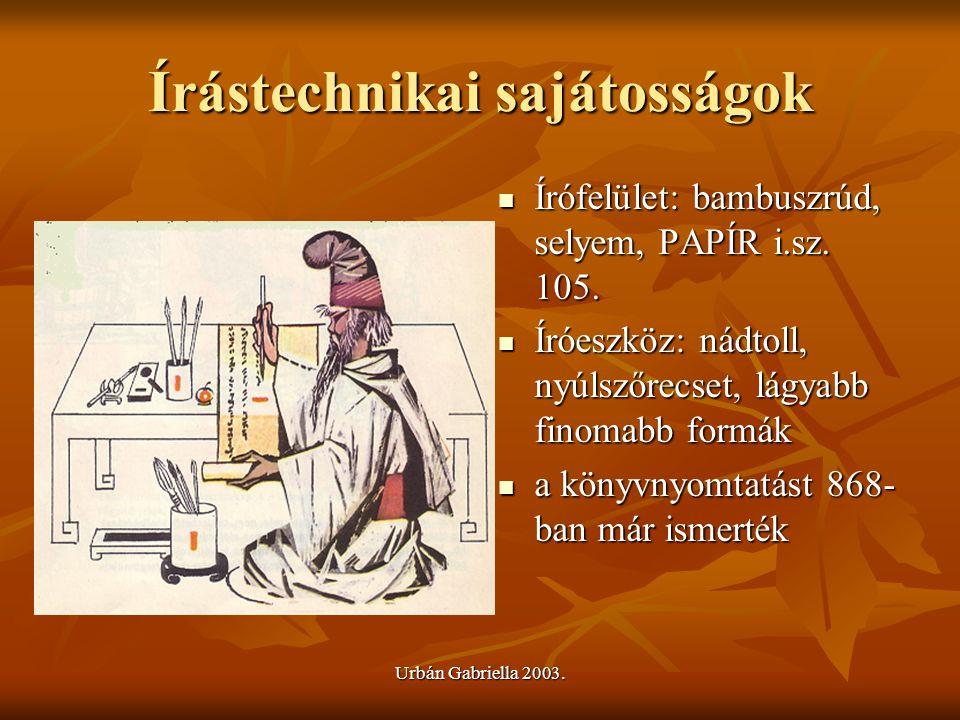 Írástechnikai sajátosságok Írófelület: bambuszrúd, selyem, PAPÍR i.sz. 105. Írófelület: bambuszrúd, selyem, PAPÍR i.sz. 105. Íróeszköz: nádtoll, nyúls