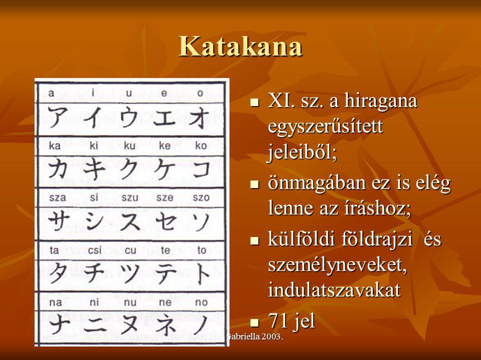 Urbán Gabriella 2003. Katakana XI. sz. a hiragana egyszerűsített jeleiből; XI. sz. a hiragana egyszerűsített jeleiből; önmagában ez is elég lenne az í