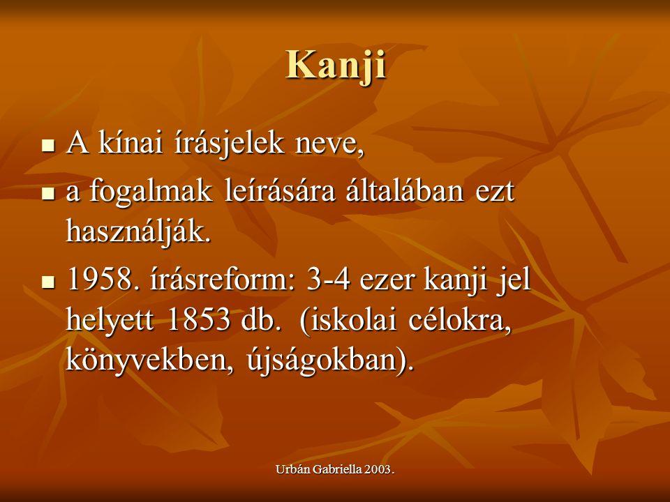 Urbán Gabriella 2003. Kanji A kínai írásjelek neve, A kínai írásjelek neve, a fogalmak leírására általában ezt használják. a fogalmak leírására általá