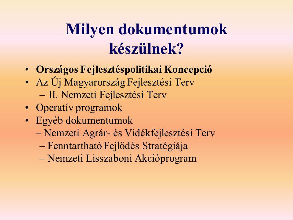 Milyen dokumentumok készülnek? Országos Fejlesztéspolitikai Koncepció Az Új Magyarország Fejlesztési Terv –II. Nemzeti Fejlesztési Terv Operatív progr