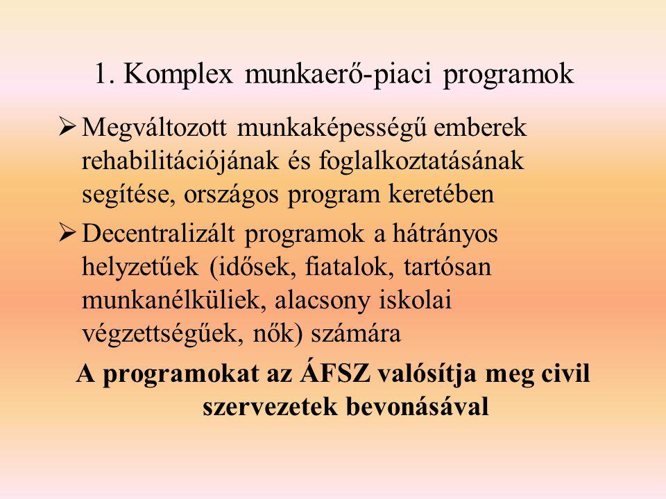 1. Komplex munkaerő-piaci programok  Megváltozott munkaképességű emberek rehabilitációjának és foglalkoztatásának segítése, országos program keretébe