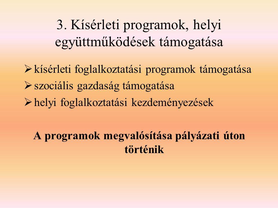 3. Kísérleti programok, helyi együttműködések támogatása  kísérleti foglalkoztatási programok támogatása  szociális gazdaság támogatása  helyi fogl