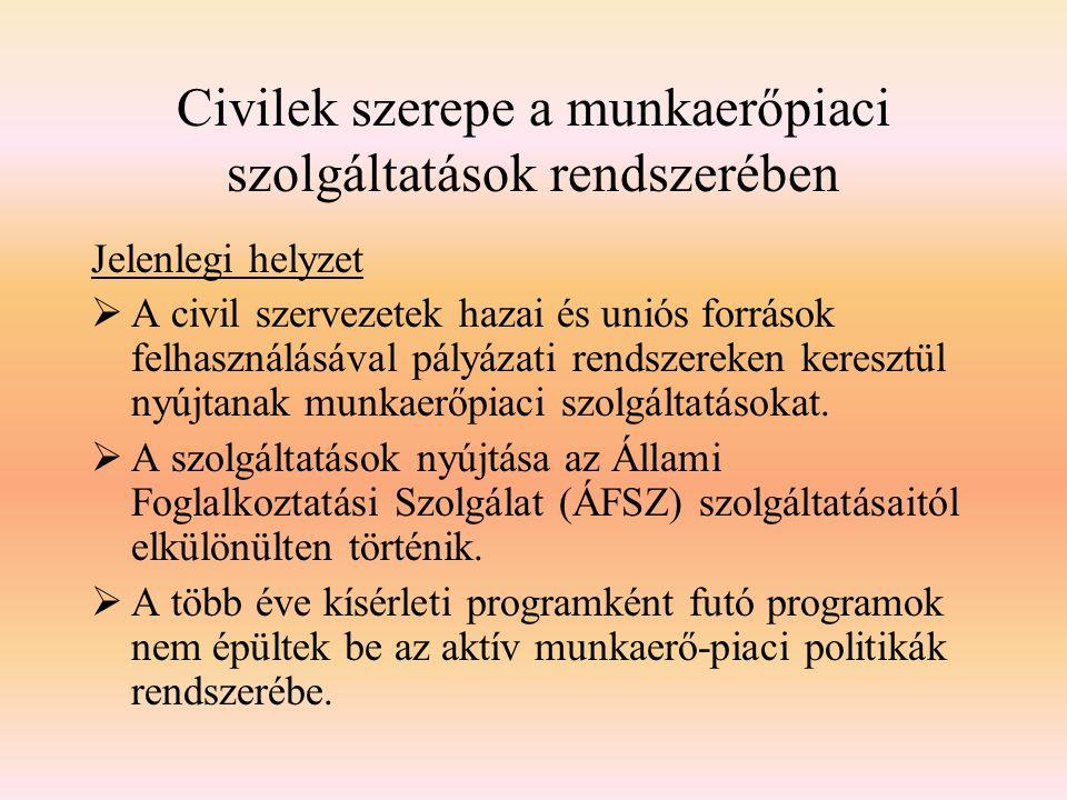 Civilek szerepe a munkaerőpiaci szolgáltatások rendszerében Jelenlegi helyzet  A civil szervezetek hazai és uniós források felhasználásával pályázati