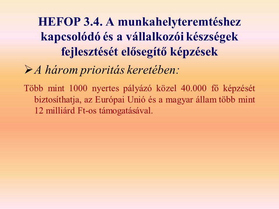 HEFOP 3.4. A munkahelyteremtéshez kapcsolódó és a vállalkozói készségek fejlesztését elősegítő képzések  A három prioritás keretében: Több mint 1000
