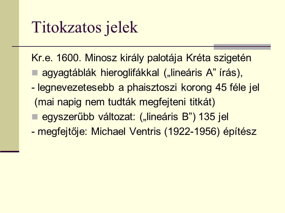 """Titokzatos jelek Kr.e. 1600. Minosz király palotája Kréta szigetén agyagtáblák hieroglifákkal (""""lineáris A"""" írás), - legnevezetesebb a phaisztoszi kor"""