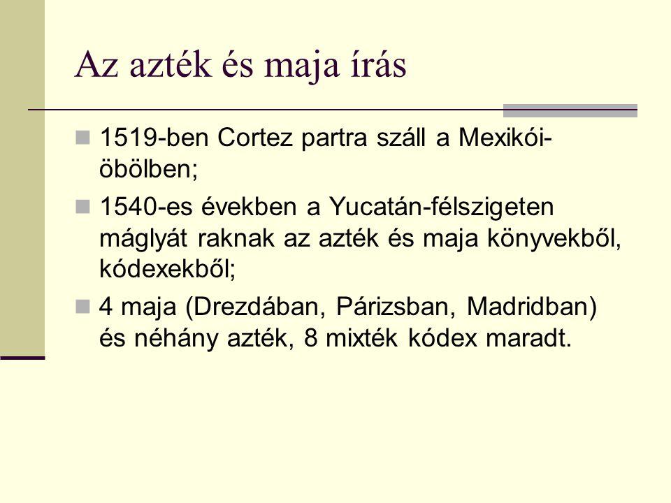 Az azték és maja írás 1519-ben Cortez partra száll a Mexikói- öbölben; 1540-es években a Yucatán-félszigeten máglyát raknak az azték és maja könyvekbő