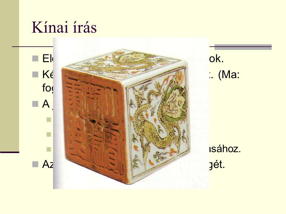 Kínai írás Előzmények: Kr.e.18. sz. jóscsontok. Képírás - 4 ezer éve nem változott. (Ma: fogalomírás.) A jelkészlet: 44 ezer körül van: 1500 jellel má