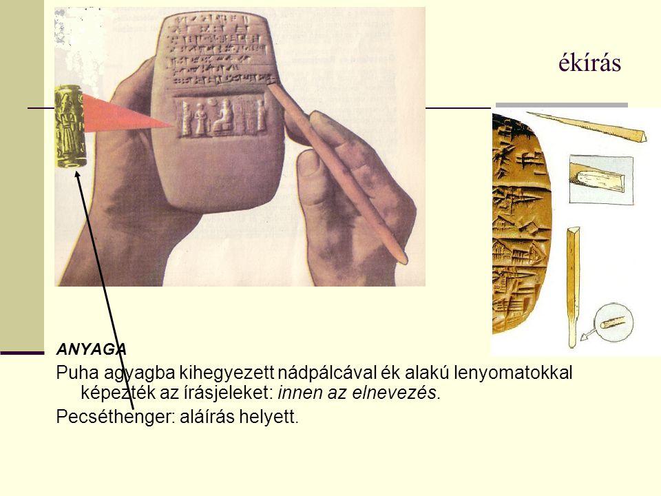 ékírás ANYAGA Puha agyagba kihegyezett nádpálcával ék alakú lenyomatokkal képezték az írásjeleket: innen az elnevezés. Pecséthenger: aláírás helyett.