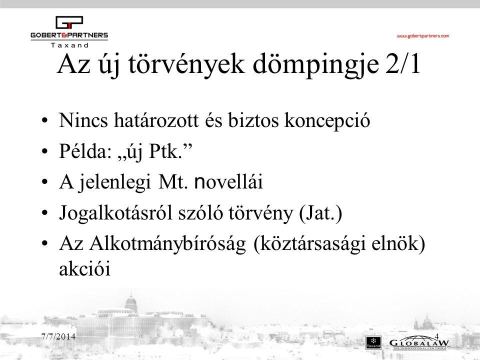 """7/7/20144 Az új törvények dömpingje 2/1 Nincs határozott és biztos koncepció Példa: """"új Ptk. A jelenlegi Mt."""