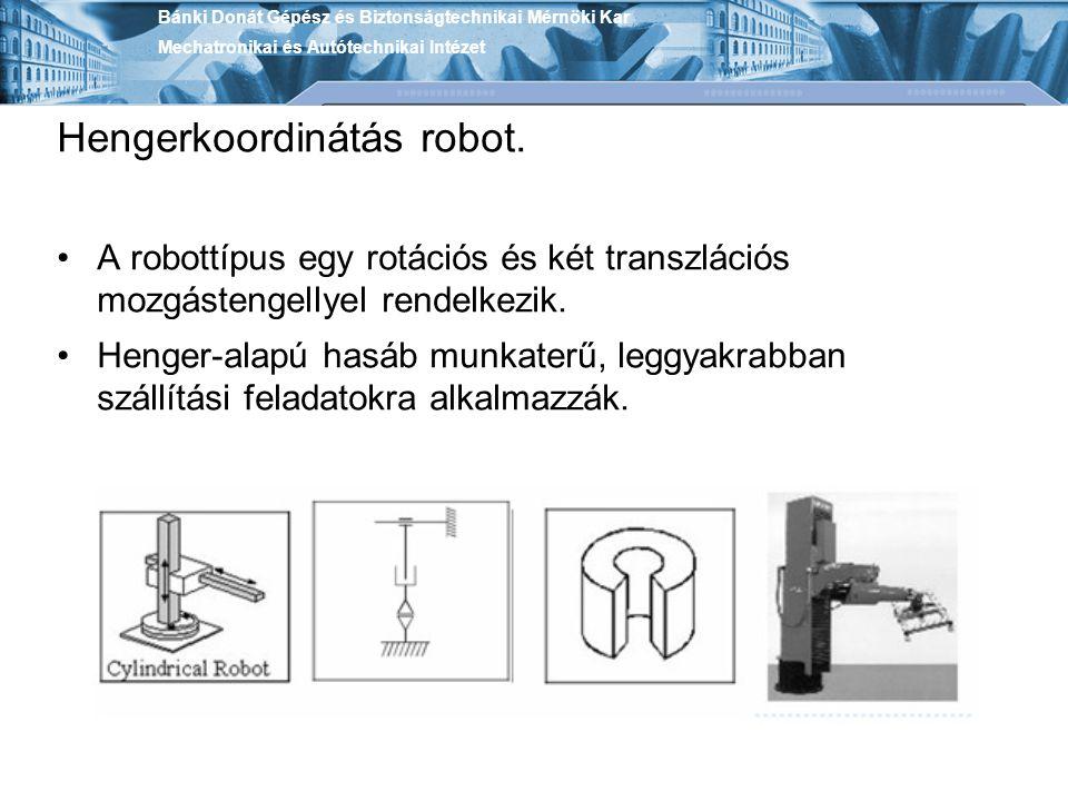 Hengerkoordinátás robot. A robottípus egy rotációs és két transzlációs mozgástengellyel rendelkezik. Henger-alapú hasáb munkaterű, leggyakrabban száll