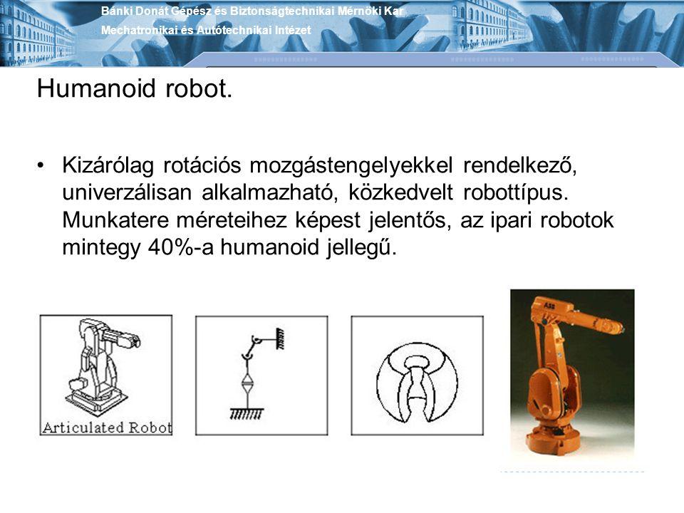 Humanoid robot. Kizárólag rotációs mozgástengelyekkel rendelkező, univerzálisan alkalmazható, közkedvelt robottípus. Munkatere méreteihez képest jelen