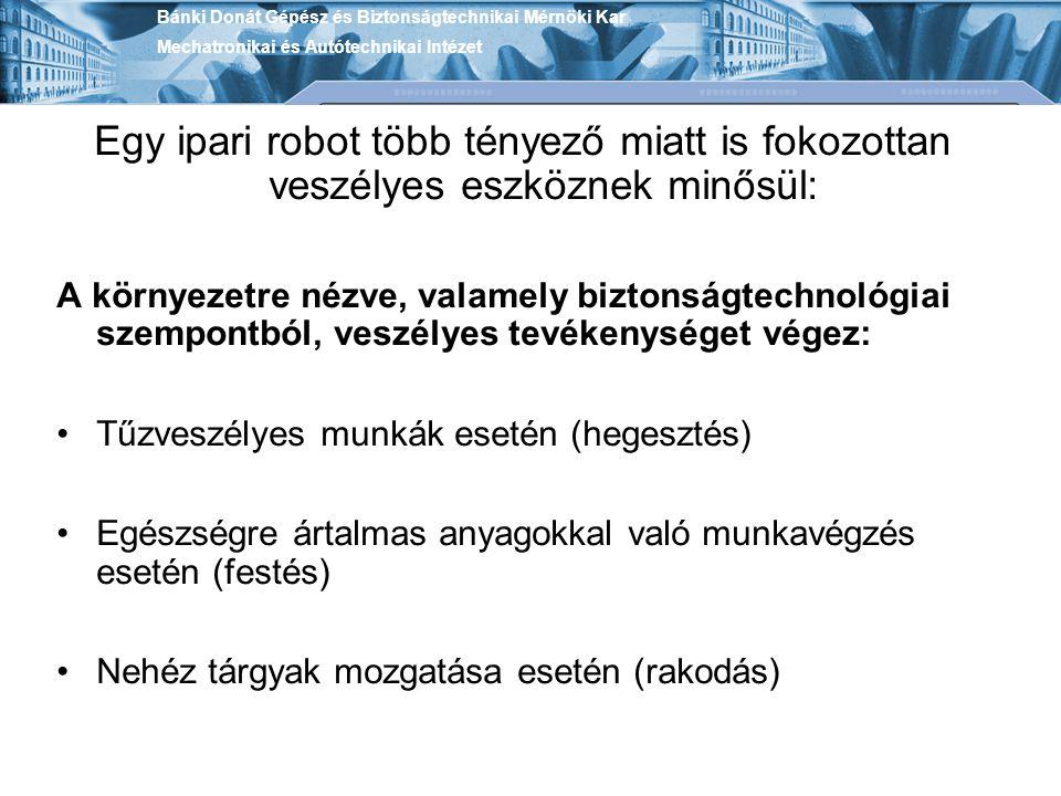 Egy ipari robot több tényező miatt is fokozottan veszélyes eszköznek minősül: A környezetre nézve, valamely biztonságtechnológiai szempontból, veszély