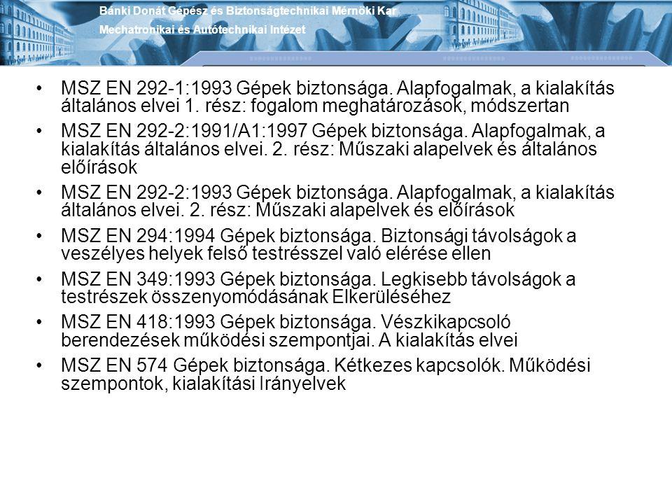 MSZ EN 292-1:1993 Gépek biztonsága. Alapfogalmak, a kialakítás általános elvei 1. rész: fogalom meghatározások, módszertan MSZ EN 292-2:1991/A1:1997 G