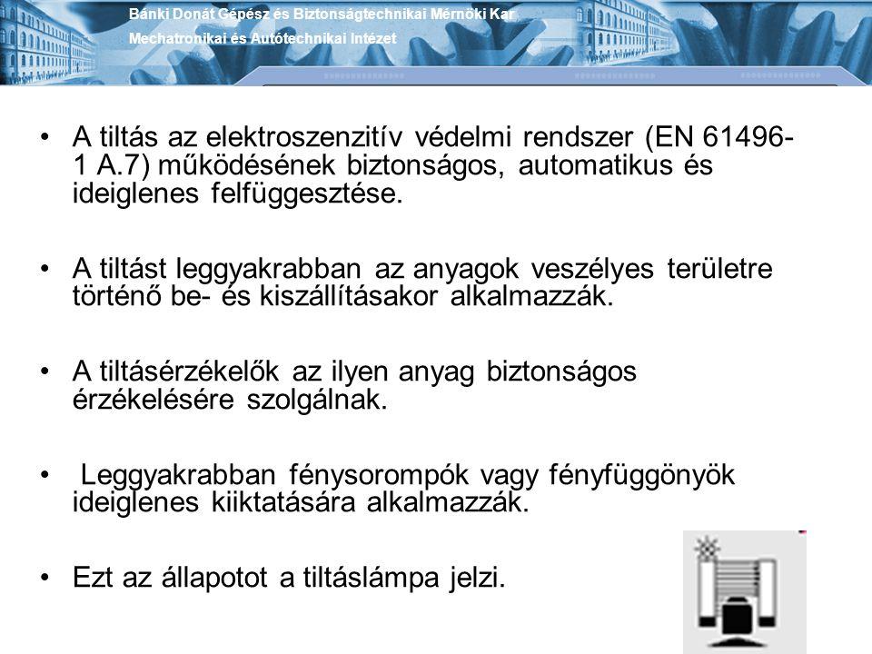 A tiltás az elektroszenzitív védelmi rendszer (EN 61496- 1 A.7) működésének biztonságos, automatikus és ideiglenes felfüggesztése. A tiltást leggyakra