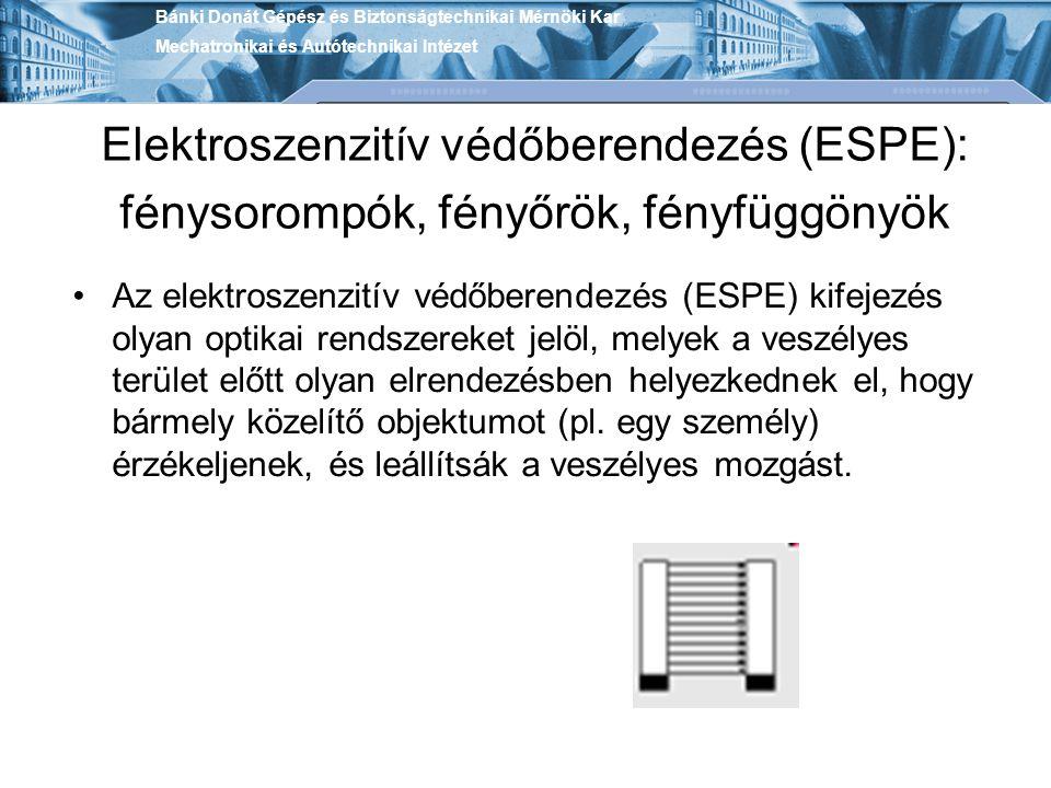 Elektroszenzitív védőberendezés (ESPE): fénysorompók, fényőrök, fényfüggönyök Az elektroszenzitív védőberendezés (ESPE) kifejezés olyan optikai rendsz