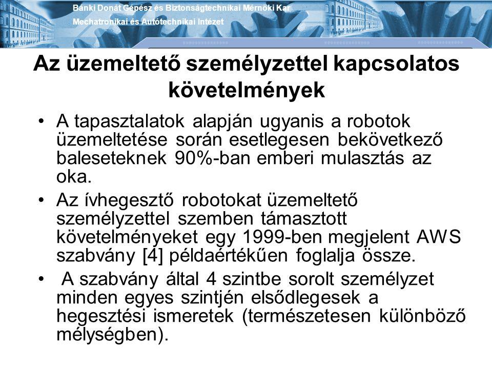 Az üzemeltető személyzettel kapcsolatos követelmények A tapasztalatok alapján ugyanis a robotok üzemeltetése során esetlegesen bekövetkező balesetekne